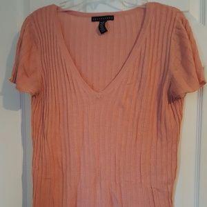 Tops - Peach ribbed t-shirt, as XL, lightweight